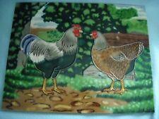 """Kitchen Backsplash Chicken Rooster Tile 14x11"""" Ceramic Wall Ceramic Signed BT"""