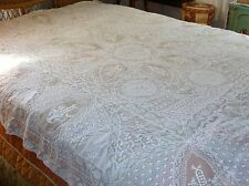 Stunning Early VTG~Antique White Lace~Embroidered Tablecloth~Bedspread~96x70~GEM