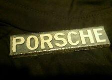 Vintage Porsche Emblem Metal White on Grey Poss From Dealers License Plate Frame