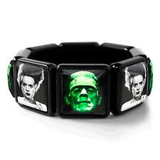 Frankenstein & Bride Universal Horror Monsters Glass Black Bangle Charm Bracelet