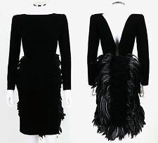 VTG OSCAR DE LA RENTA BLACK VELVET COQ FEATHER BUSTLE COCKTAIL DRESS SZ S A/W 87