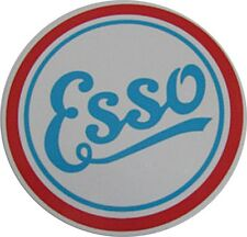 PAIR of Esso Vintage round peel-off vinyl stickers / decals (ff)