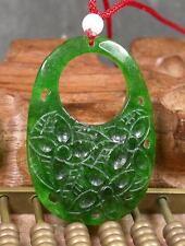 CHINESE Green JADE PENDANT Ruyi Lotus Flower Circle Teardrop 232428