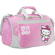 Hello Kitty Sports Duffle Bag, Sports Bag, Carrying Bag, Gym Bag, Pink and Grey