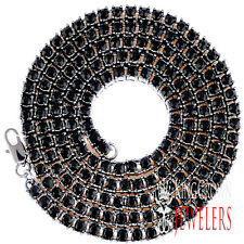 Black 1 Row Simulated Diamond Iced Out Men Lady Bling Tennis Chain Necklace 36""