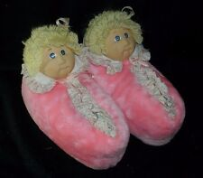 ORIGINAL VINTAGE 1984 CABBAGE PATCH KIDS PINK DOLL SLIPPERS STUFFED PLUSH 5 - 6