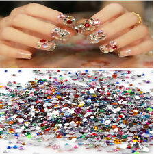 2000 X Mixed Shape Rhinestones Acrylic Nail Art Decoration Tips Flat back Gems J