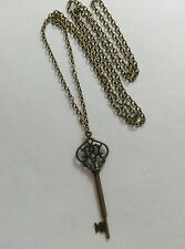 "BRONZE KEY NECKLACE Alice in wonderland vintage steampunk antique 30"" Long chain"