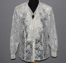 Carrie Back Gorgeous Ivory Shimmery Lace Double Ruffle Blouse Wms 12 PRISTINE