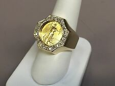 22 KT 1/10oz LADY LIBERTY COIN IN 14 KT YELLOW GOLD RING WITH .63 TCW DIAMONDS