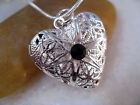 Black Onyx Crystal Silver Heart Love Picture Locket Charm Pendant Necklace
