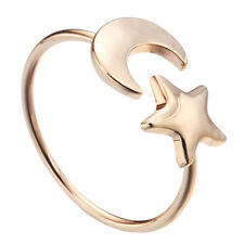 Crescent Moon and Tiny Star Ring Gift for Women and Girls Cute Adjustable Rings