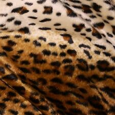 Brown & Cream Cheetah Leopard Print Velboa Fur Fabric