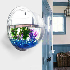 Small Wall Mounted Acrylic Fish Tank Hanging Bowl Bubble Aquarium Goldfish Plant