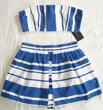 DOLCE & GABBANA Blue White Stripe Split Skirt Hot Pants Shorts Top Set 40 4