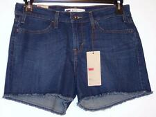 NWT Levi's Mid Rise Sits Below Waist Stretch Denim Jean Shorts Blue 8