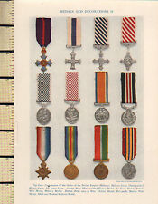 1927 PRINT MEDALS & DECORATIONS BRITISH EMPIRE VICTORY MEDAL AIR FORCE MILITARY