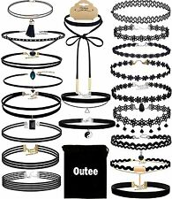 Chocker Sets, Outee 20 Pieces Black Velvet Choker Necklace Set Lace Choker for