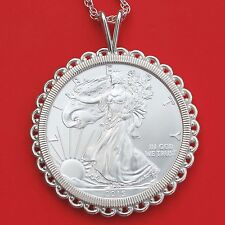 2015 US 1 Troy Oz .999 Fine Silver American Eagle Coin Sterling Silver Necklace