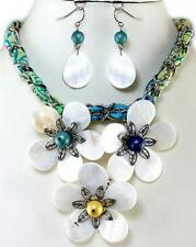 Natural Shell Flower Tropical Multi Color Silver Statement Earrings Necklace Set