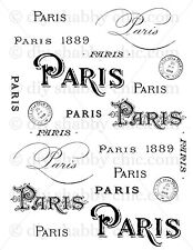 A6 CRAFT ART FURNITURE PARIS STICKER DECALS FRENCH IMAGE TRANSFER VINTAGE LABEL