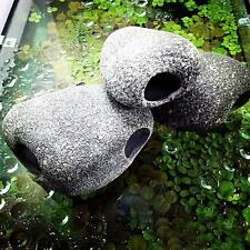 3x Aquarium Fish Tank Cichlid Stones Ceramic Rock Cave Ornament Home Decoration