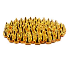 SZD 100pc Screwback Gold Cone Spikes Studs Leathercraft DIY Punk Spots Bullet AD