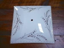 Vintage Wheat Pattern White Square Glass Ceiling Light Fixture Cover Globe Shade