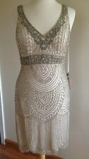 SUE WONG Champagne Beaded Wedding Bridal Cocktail Evening Party Dress 2