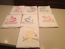 Vintage BONNET  GIRLS COMPLETE  Embroidered Dish/ Tea  Towels Days of The Week