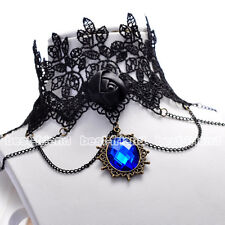 Lace Gothic Retro Necklace Choker Blue Stone Steampunk Style Black Jewellery New