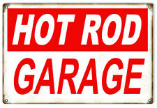Reproduction Aged Hot Rod Garage Red And White Sign