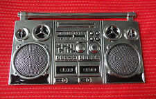 BOOMBOX GHETTO BLASTER STEREO MUSIC RADIO DJ BOOM BOX DISC JOCKEY BELT BUCKLE