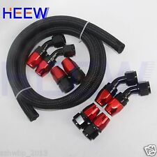 AN10 Nylon Braided OIL FUEL line hose9.8FT 10AN Fittings 45°+0° End Adaptor