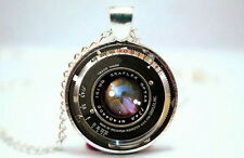 Vintage Camera Lens - Silver Tone Photo Glass Dome Necklace Pendant Gift