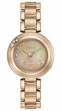New Citizen Eco-Drive Carina Rose Tone Steel Ladies Diamond Watch EM0463-51Y