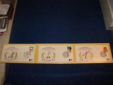HALL OF FAME LEGENDS FIRST DAY COVERS BABE RUTH LOU GEHRIG TY COBB 1988-89 MINT