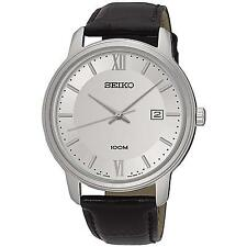 SEIKO MEN'S 41MM BROWN LEATHER BAND STEEL CASE QUARTZ ANALOG WATCH SUR201