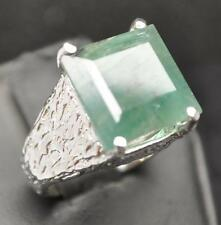 10.93 CT UNTREATED EMERALD STERLING SILVER MENS NUGGET RING SIZE 8.5  11 GRAMS
