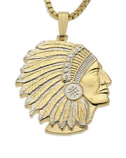"Indian Chief Pendant & Necklace Hand Cut Indian Medallion, 7/8"" ( # 682B  )"