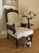 Antique Edwardian Carved Walnut Hall *Feature *Library *Salon Chair / Armchair