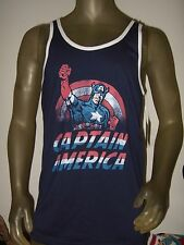 New Men's Large Blue Marvel Comics Captain America Shield Logo Tank Top Shirt  L