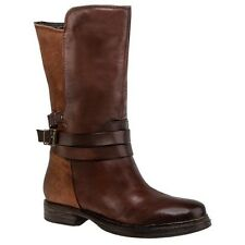 Ladies Clarks Moody Film Brown Leather Mid Calf Biker Boots UK 4  SALE