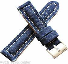 20mm 24mm Diloy Jeans Denim Canvas Textile Watch Strap Band in Navy Blue