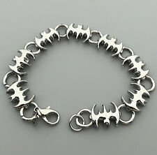 Men's Stainless Steel Silver Tone batman Bracelet 8""