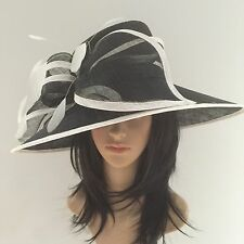 PETER BETTLEY BLACK AND WHITE ASCOT WEDDING HAT OCCASION MOTHER OF THE BRIDE