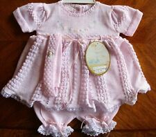 Will'beth Preemie Newborn Reborn Fancy Pink Knit Dress Set Headband NWT