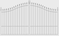 Custom Built Driveway Entry Gate 11 Ft Wide Dual Swing, Fencing Steel Gates