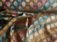 INDIAN SEED EMBROIDERED RAW SILK PINK GOLD DRESSMAKING FABRIC SARI TEX EX 534