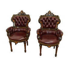 Antique Victorian Inlaid Rosewood Clients Chairs by Pottier & Stymus #7660